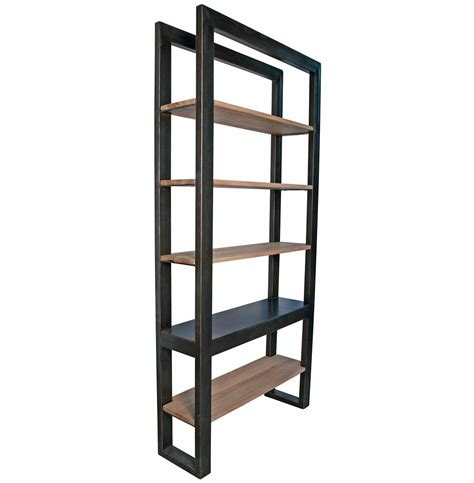 millerton metal distressed wood industrial loft bookcase
