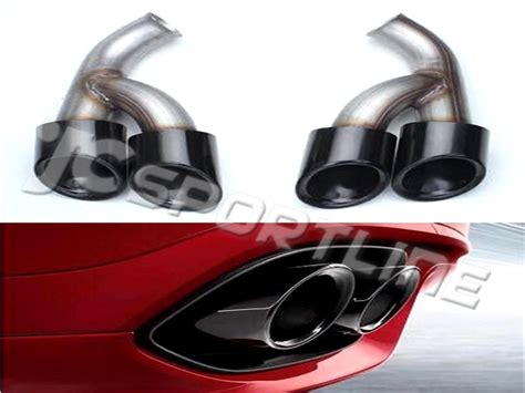 black stainless steel quad pipes exhaust tips short pipe muffler quad tips  porsche cayenne