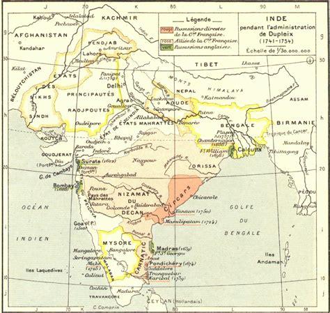 pendant l carte de l inde pendant l administration de dupleix