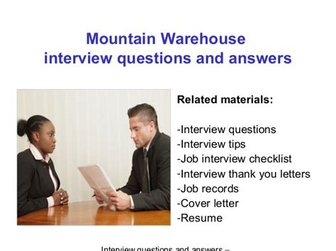 mountain warehouse questions and answers