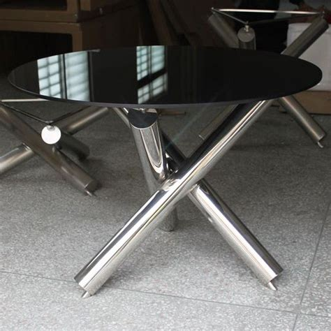 Tables Basses Gigogne 1290 by Table Ronde Avec Pied Central En Inox Rubis