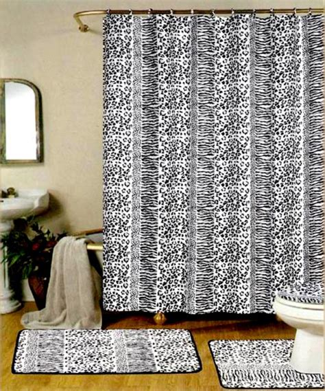 Black And White Shower Curtain Set by 4 Pc Black White Zebra Bathroom Rug Shower Curtain Set Ebay