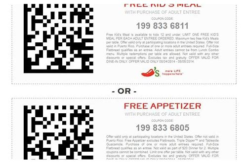chili's coupon promo code