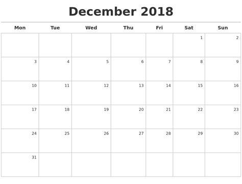 2018 December Calendar December 2018 Calendar Maker