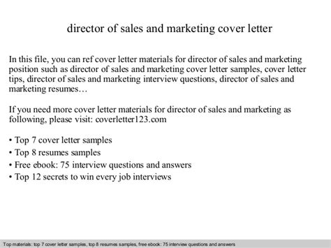 sales and marketing cover letter director of sales and marketing cover letter