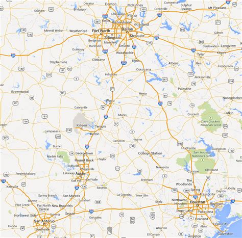 road map of central texas for you non texans you can see where fort worth and hillsboro and waco are grandview is