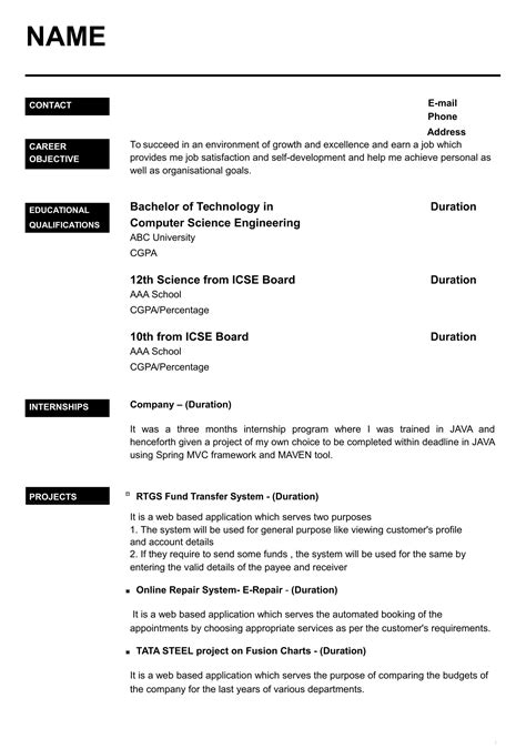 Resume Format For Freshers It Engineers