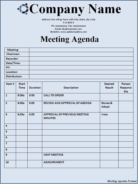 meeting format template meeting agenda format free formats excel word