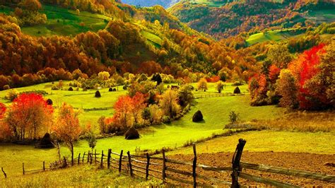Fall Farmhouse Wallpaper Nature Landscapes Fields Fence Grass Farm Trees