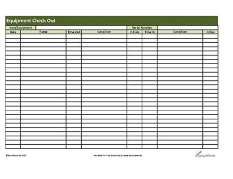 Printable Equipment Checkout Form Business Forms Printables Business Sle Resume Equipment Checkout List Template