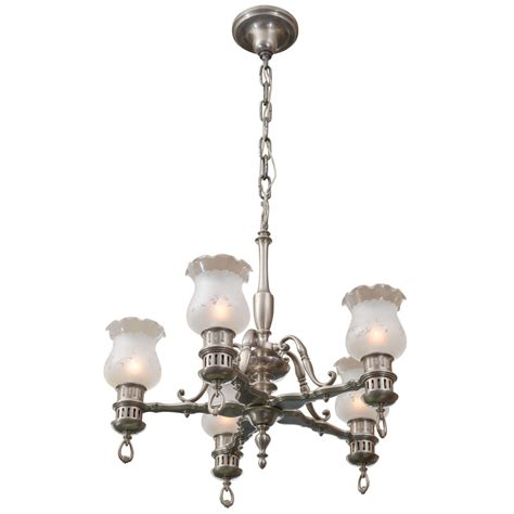 Colonial Style Chandelier 5 Arm Brushed Nickel Chandelier Colonial Style For Sale At 1stdibs