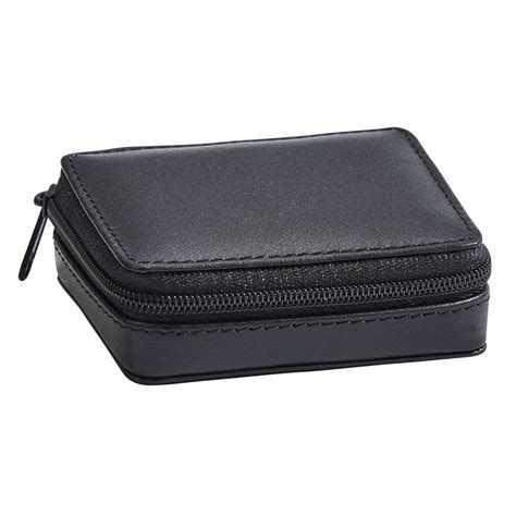 "Black Leather Zippered Pill Case 3"" x 2.5"
