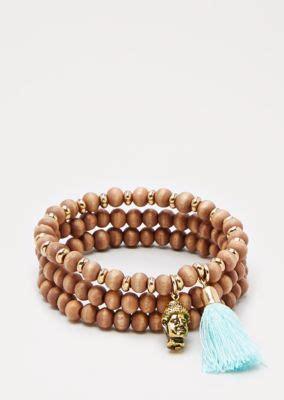 Tasseled Beaded Bracelet tasseled wooden bead bracelet set beaded rue21