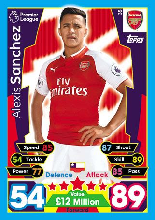 alexis sanchez stats 17 18 footycards com gt arsenal gt match attax 2017 18 35 alexis