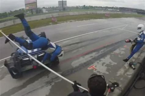 indycar pit stop  wrong  dale coyne racing pit crew member turnologyturnology