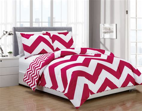red chevron comforter 3 piece chevron pink white reversible down alternative