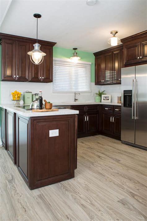 small kitchen design  cherry wood cabinets cherry