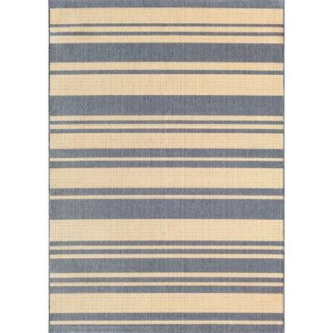 Hton Bay Outdoor Rugs Hton Bay Stripe Ivory Blue 7 Ft 7 In X 10 Ft 10 In Indoor Outdoor Area Rug 5085 14 65