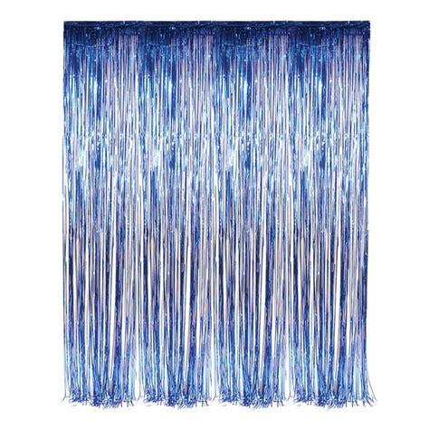foil fringe curtains dr69244 blue foil fringe curtain