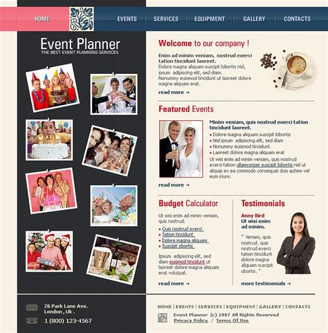 design event website event planner website template web design templates