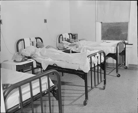 in the bed file one of the six bed wards in the hospital 75 percent of the patients are miners