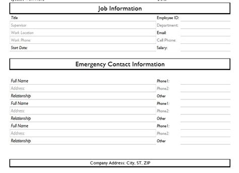 employee information template excel record of employee information form format word and excel