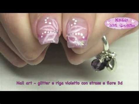 nail fiore strisciato nail rosa con stickers fiori e decori a ma
