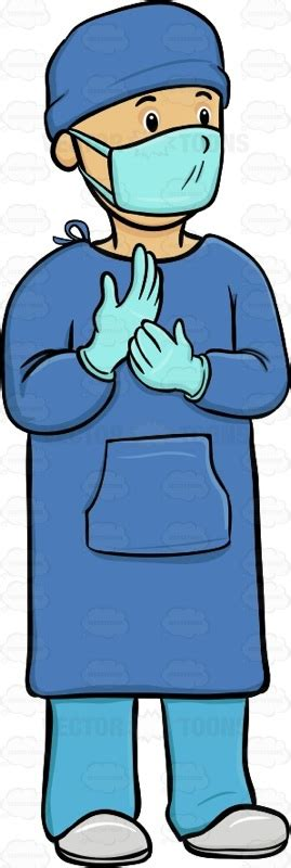 surgeon clipart the front view of a surgeon in his surgical gown and cap
