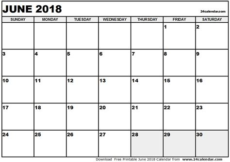 printable monthly calendar june 2018 journalingsage