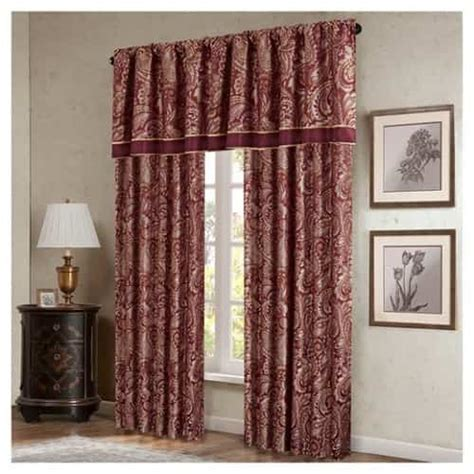 burgundy and black curtains damask half flock pair of bedroom curtain living room 15