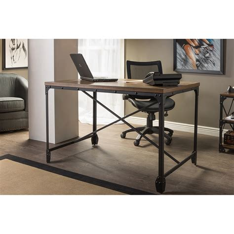 Baxton Studio Greyson Vintage Industrial Antique Bronze Industrial Home Office Desk