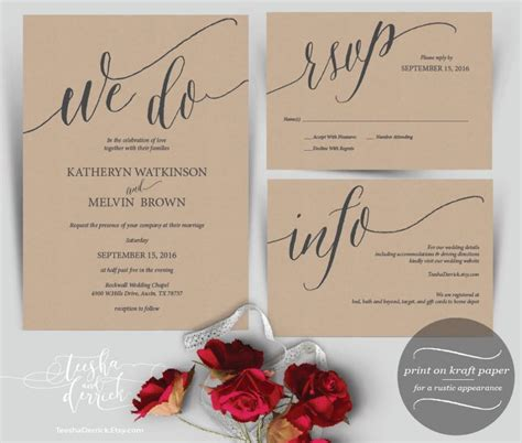 printable template kraft we do wedding invitation instant download printable