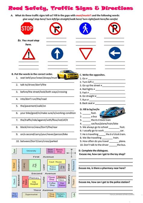 printable road signs worksheets road safety traffic signs and directions worksheet free