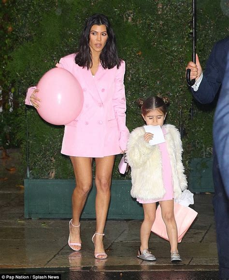 Kourtney Baby Shower Pictures by Kourtney Shows Legs In Matching Dresses With