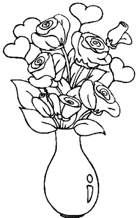 flower to color vase and flowers coloring page coloring home