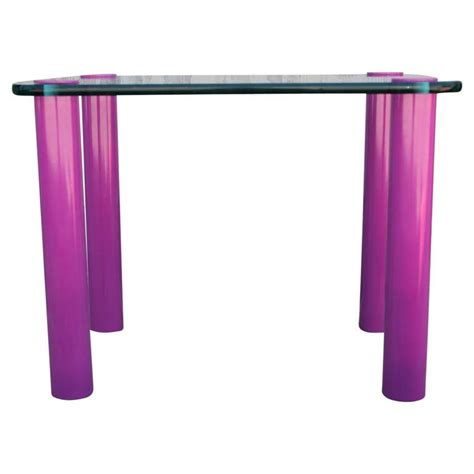 Purple Table L Modern Rectangular Glass Side Table With Purple Pink Lacquered Legs For Sale At 1stdibs