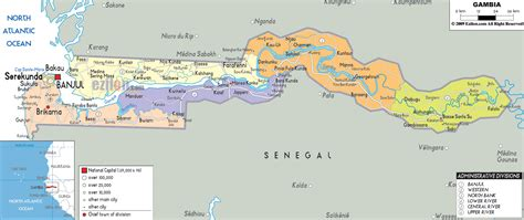 africa map gambia detailed clear large map of gambia ezilon maps