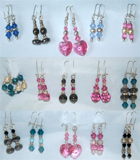 Handmade Earrings With - handmade earrings with swarovski crystals and pearls