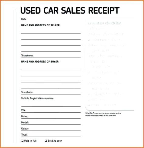 Free Receipt Template For Car Sale by Car Sale Receipt Pdf Car Bill Sale Printable This Car Sale