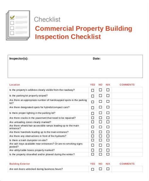 Building Inspection Checklist Template by Building Checklist Templates 15 Free Word Pdf Format