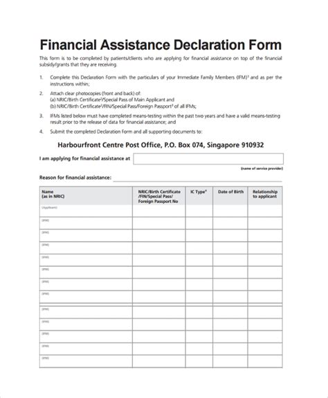 8 Financial Declaration Forms Sle Templates Free Assistant Forms And Templates