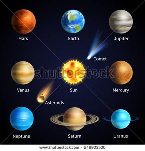 objects in space books realistic solar system planets space objects stock vector