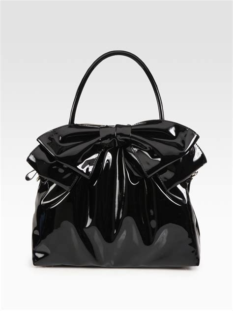 Valentino Vernice Handbag by Valentino Handle Patent Leather Bow Bag In Black Lyst