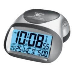 seiko qhr008slh get up and glow r wave atomic bedside alarm clock for sale