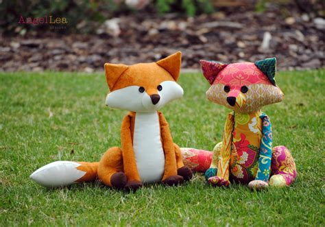 Patchwork Animals - fox sewing pattern pdf patchwork fox softie stuffed animal