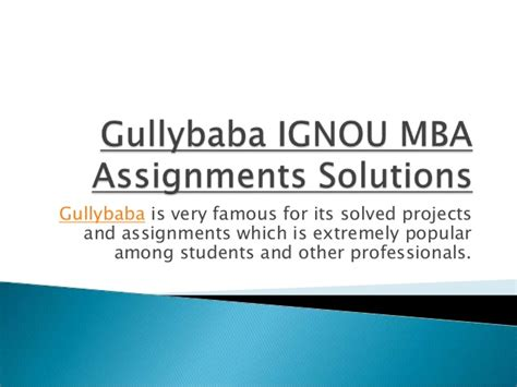 Ignou Mba Project Status by Gullybaba Ignou Mba Assignments Solutions