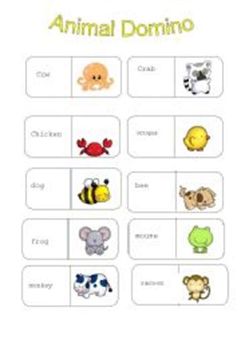 printable animal dominoes english teaching worksheets domino
