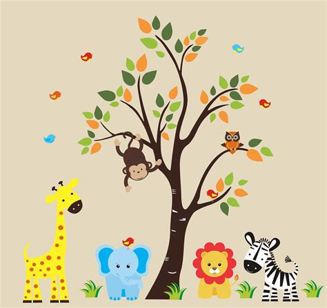 Safari Wall Decal 128 Nursery Wall Decal By Stickemupwallart Nursery Jungle Wall Decals