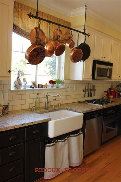 kitchen island with hanging pot rack welcome to inspiration friday no 52 copper curtain