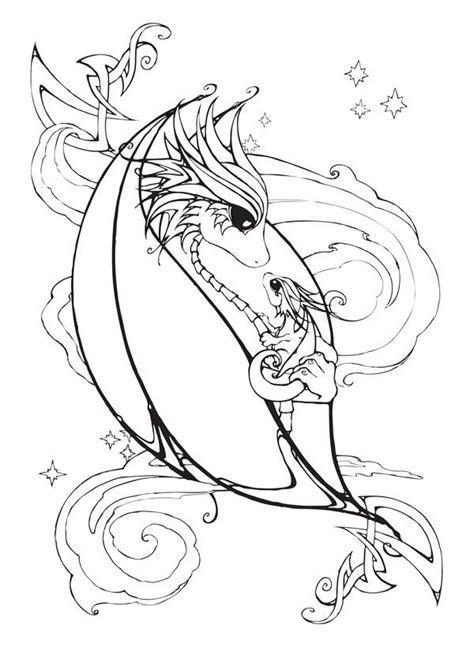 girl dragon coloring page mother and baby dragon coloring page by bittybiteyones on